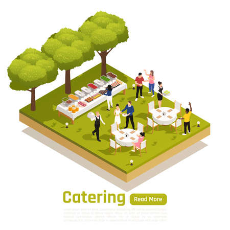 Special occasions corporate barbecue outdoor catering service website isometric element with natural park wedding ceremony vector illustration