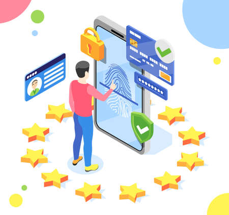 Personal data protection gdpr isometric composition with man and smartphone with pictograms inside eu stars circle vector illustration