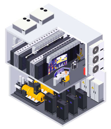 Data center 2 story facility isometric cutaway view with computer equipment servers routers operator desk vector illustration