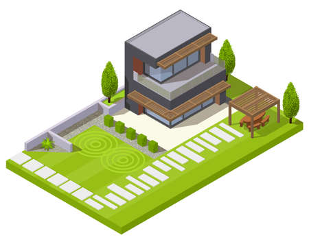 Landscape design isometric composition of residential yard with lawn plants stone hedge and modern house building vector illustration