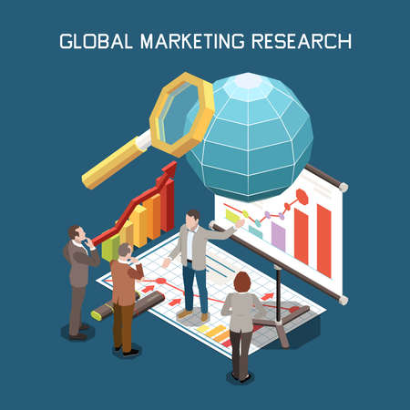 Project management isometric composition with editable text and characters of managers surrounded by graphs and charts vector illustration