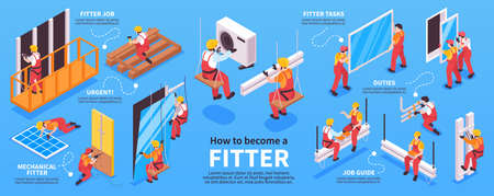 Isometric fitter infographics with images representing various mechanic works with human characters and editable text captions vector illustration Ilustración de vector