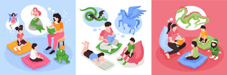 Isometric fairy tale story design concept with square compositions of reading people children and magic creatures vector illustration