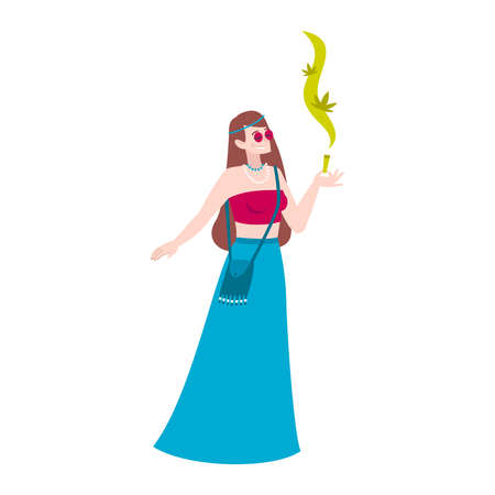 Cannabis hemp marijuana people composition with female character of woman smoking joint in hippie style clothes vector illustration