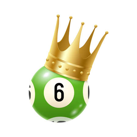Realistic bingo lottery lotto composition with isolated image of lottery ball from drawing machine with golden crown vector illustration