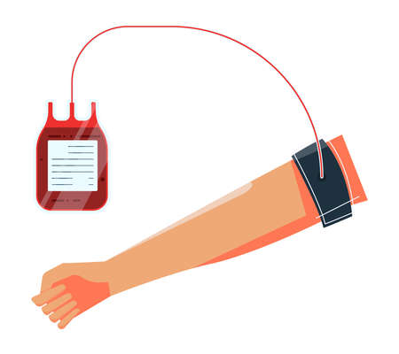 Blood donation flat composition with isolated images of human hand with blood dropping tube inserted vector illustration Vektoros illusztráció