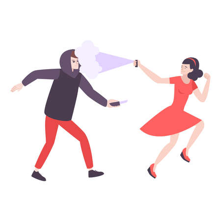 Self defense flat composition with woman running from robber with knife spraying pepper vector illustration