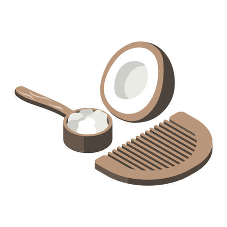 Zero waste isometric composition with icons of comb and coconut shell with oil for hair vector illustration