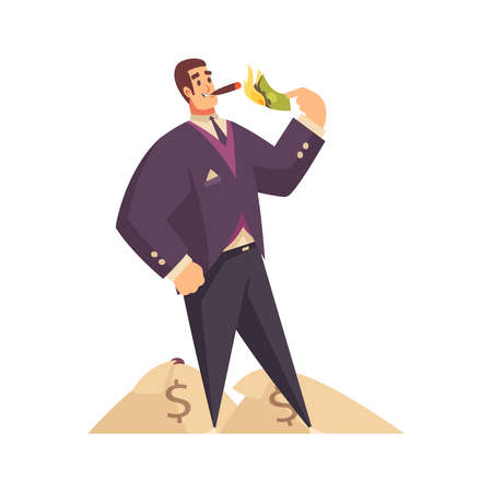 Rich man composition with doodle male character lighting his cigarette with burning banknote vector illustration