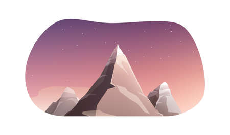 Mountains rocks landscapes set flat composition with night scenery and starry sky with mountain peaks vector illustration
