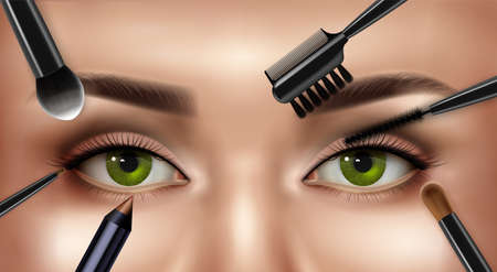 Makeup eye realistic composition with closeup view of female upper face with eyebrows and applicator brushes vector illustration Vektoros illusztráció