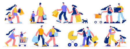 Family shopping grocery electronics young couples carrying bags mother pushing cart with daughter  flat set vector illustration
