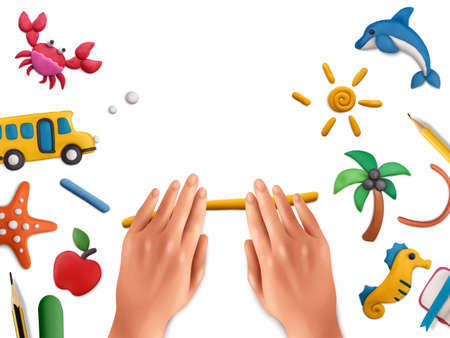 Plasticine modeling clay school composition with realistic images of human hands with works on blank background vector illustration