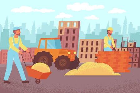 Construction brick house flat composition with outdoor scenery cityscape silhouette and characters of builders with supplies vector illustration