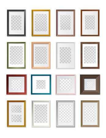 Square and rectangular picture frames transparent background various types sizes material color realistic mockup set vector illustration Çizim
