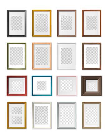 Square and rectangular picture frames transparent background various types sizes material color realistic mockup set vector illustration Illusztráció