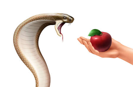 Snake and apple realistic composition with isolated images of hissing cobra and human hand holding fruit vector illustration