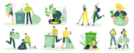 Garbage recycling flat set with collecting garden household waste sorting in plastic bags rubbish container vector illustration
