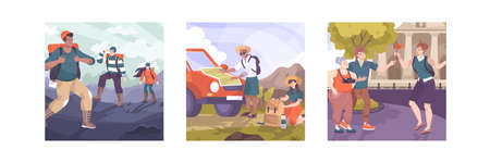 Set of three excursion compositions with flat characters of tourist groups sighted guide and outdoor landscapes vector illustration