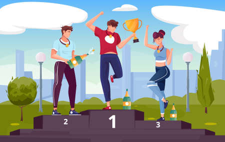 Winner rewarding flat composition with outdoor scenery with cityscape and characters of happy athletes on podium vector illustration