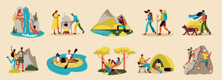 Hiking color set of isolated icons characters of travelers and images of touristic equipment and items vector illustration