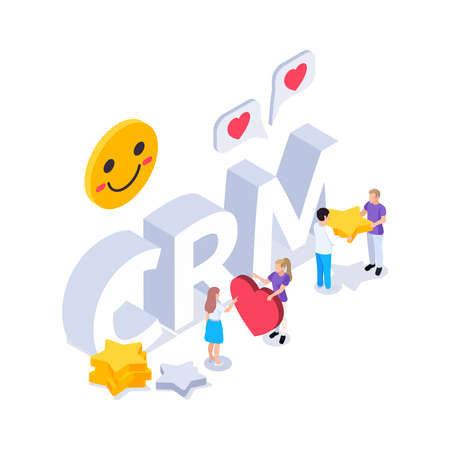 Web seo isometric composition with text surrounded by smiles with human characters holding likes and stars vector illustration
