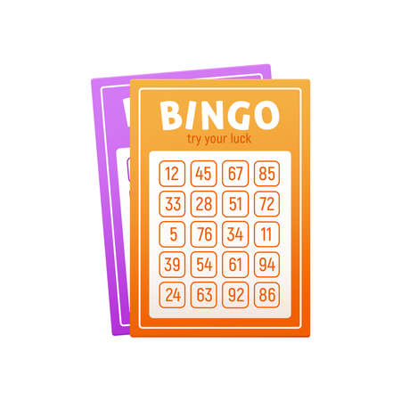 Realistic bingo lottery lotto composition with images of colorful lottery tickets with numbers in checkboxes vector illustration