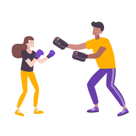 Self defense flat composition with doodle style characters of boxing woman and male instructor vector illustration Illusztráció