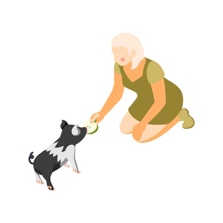 Contact zoo contact farm zoocafe isometric icons composition with character of woman feeding animal with apple vector illustration
