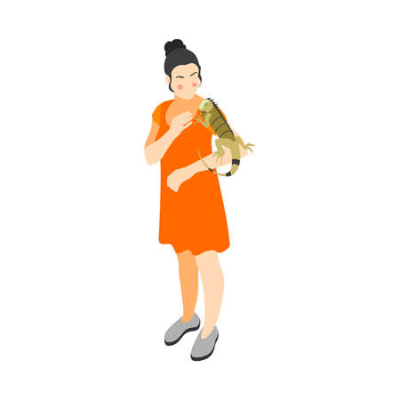 Contact zoo contact farm zoocafe isometric icons composition with female character of girl carrying iguana vector illustration