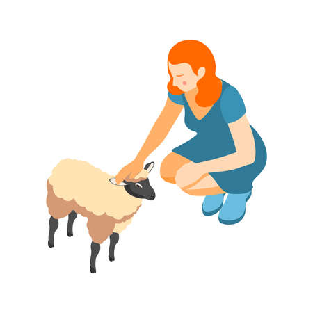 Contact zoo contact farm zoocafe isometric icons composition with female character stroking sheep vector illustration