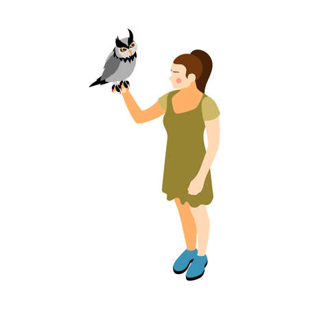 Contact zoo contact farm zoocafe isometric icons composition with girl character holding owl bird vector illustration