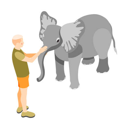 Contact zoo contact farm zoocafe isometric icons composition with man touching elephant on blank background vector illustration 向量圖像
