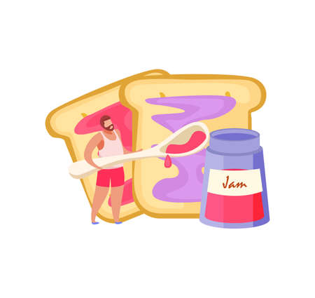 People with breakfast flat composition with character of barbed man with spoon spreading jam on bread vector illustration