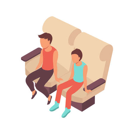 Public transport people isometric composition with faceless characters of teenagers occupying soft seats vector illustration Ilustração