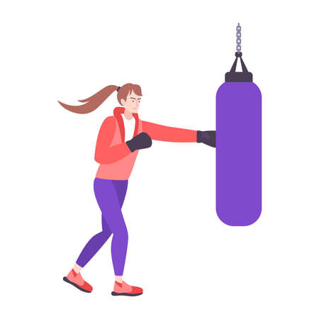Self defense flat composition with isolated doodle character of boxing girl punching bag vector illustration