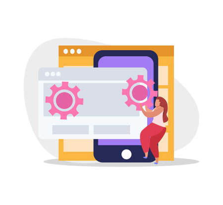 Graphic design flat composition with smartphone and female character adjusting gear icons on computer screens vector illustration