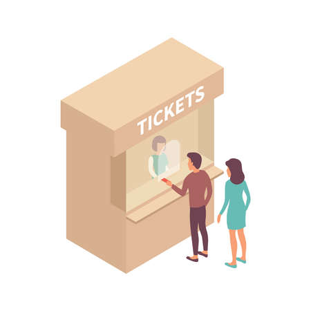 Public transport people isometric composition with view of ticket office stall with cashier and passengers vector illustration Vecteurs