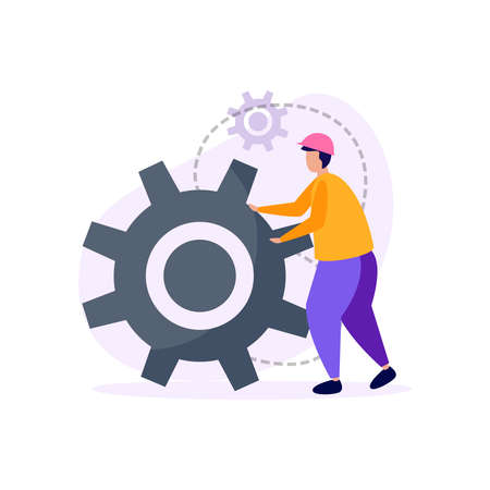 Engineering flat icons composition with engineer character in hard hat moving big gear vector illustration Stock Illustratie