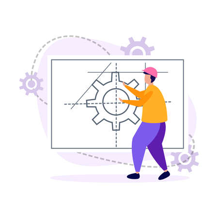 Engineering flat icons composition with character of engineer designing gear with paper project vector illustration Stock Illustratie