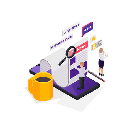 Journalists reporters news media isometric composition with characters of newsmakers with feed and smartphone vector illustration