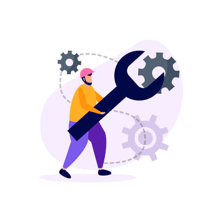 Engineering flat icons composition with doodle style character of engineer with wrench key and gear images vector illustration