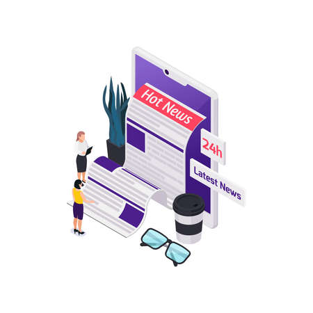 Journalists reporters news media isometric composition with paper feed and tablet with female human characters vector illustration