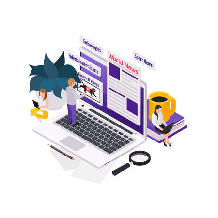 Journalists reporters news media isometric composition with images of laptop and portal categories with people vector illustration Vector Illustratie