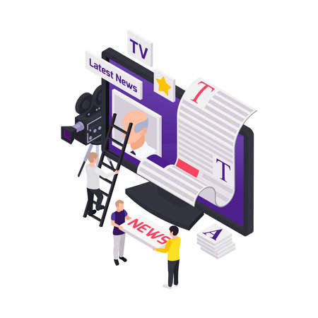 Journalists reporters news media isometric composition with computer display and people setting feed content blocks vector illustration 向量圖像