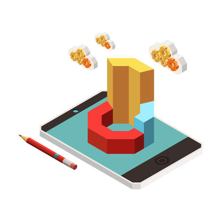 Web seo isometric composition with images of pencil gear clouds and 3d chart on tablet screen vector illustration