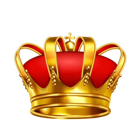Crowns laurel wreath realistic composition of medieval monarch crown with red pillow and golden cross vector illustration
