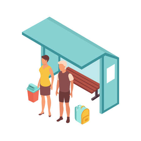 Public transport people isometric composition with bus stop shelter and faceless characters of waiting passengers vector illustration