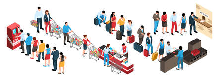 Isometric set of human characters in queues in various public places 3d isolated vector illustration