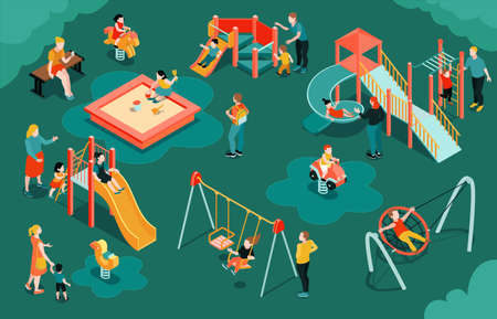 Isometric playground composition with outdoor scenery parents with kids and play equipment slide swing and sandpit vector illustration Illustration